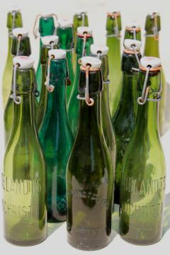 old antique Dutch beer or seltzer water bar bottles, green glass w/ porcelain wire bail lids
