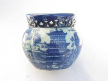 old antique English delftware blue & white chinoiserie jardiniere