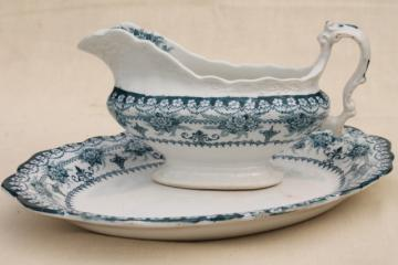 old antique English transferware china, J H Weatherby Maltese blue circa 1900