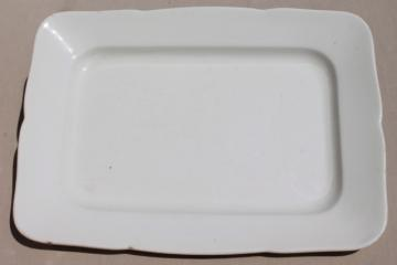 old antique English white ironstone semi-porcelain rectangular platter or tray