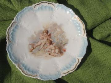 old antique German china plate, Victorian winged angel cherub babies