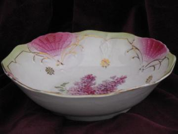 old antique Germany china serving bowl, lilacs floral, pink fan border