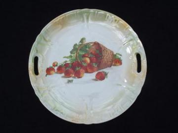 old antique Germany china serving plate w/ handles, strawberry basket