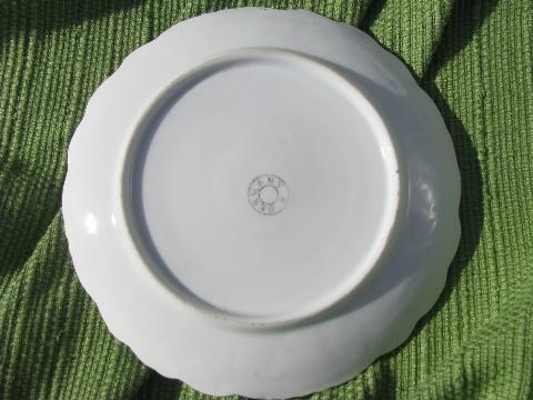 old antique Germany floral china plate, hand-painted pearly roses