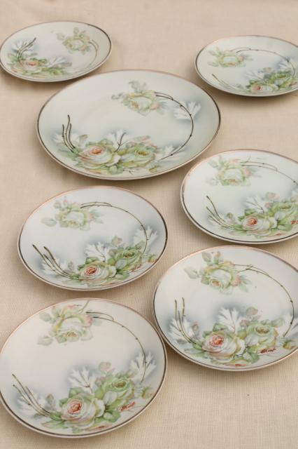 old antique Germany porcelain dessert or tea set plates, shabby chic hand painted china