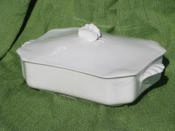 old antique Haviland Limoges pure white china tureen, sea shell cover