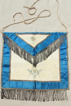 old antique Masons fraternal apron, embroidered emblem silk leather passementerie wire fringe