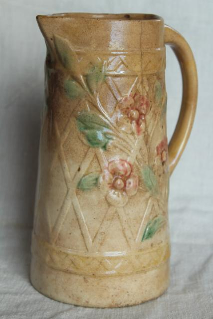 old antique Roseville pottery pitcher, majolica style wild rose & lattice design