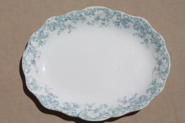 old antique Stafforshire china platter tray, robins egg blue transferware