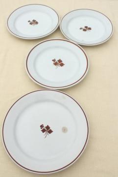 old antique Tea Leaf ironstone china plates, rustic farmhouse 1800s vintage dinnerware
