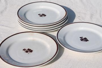 old antique Tea Leaf white ironstone china plates w/ copper luster, Wedgwood & Meakin