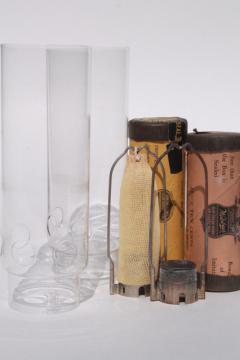 old antique Welsbach oil lamp mantle burners, glass cylinder chimneys - vintage lamp parts