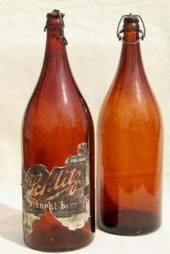 old antique amber glass beer bottles, magnum size wine bottles w/ wire bail lids