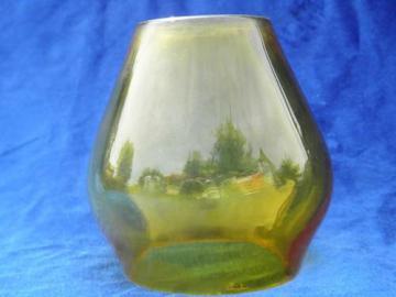 old antique amber glass ship's lantern fog lamp shade