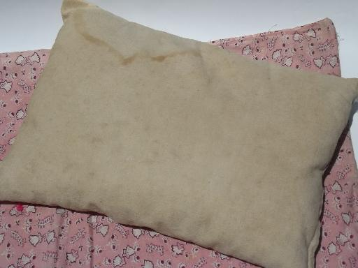 old antique baby feather pillow and doll quilt tied cotton print comforter