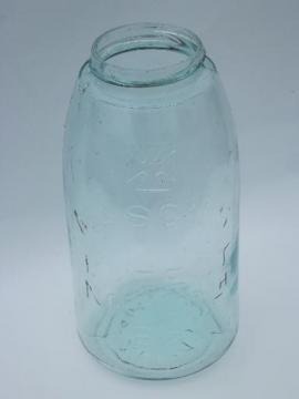 old antique blue glass two quart Mason fruit canning jar, 1858 patent