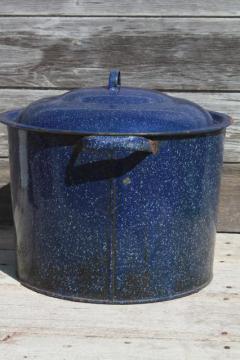 old antique blue spatter graniteware stockpot / canning kettle, 20 quart enamelware pot