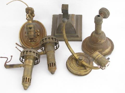 old antique brass sconce lamps / wall mount lights lot, vintage lighting parts