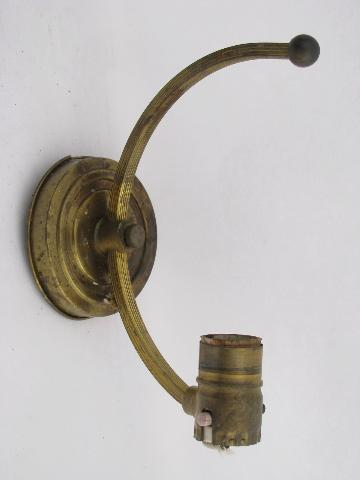 Wall Sconces Parts : old antique brass sconce lamps / wall mount lights lot, vintage lighting parts