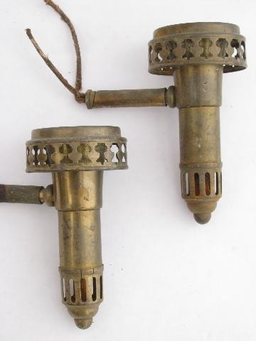 Antique Wall Light Parts : old antique brass sconce lamps / wall mount lights lot, vintage lighting parts