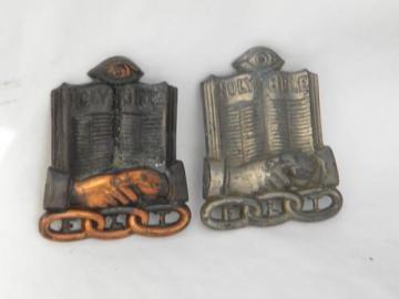 old antique bronze & nickel fraternal Odd Fellows FLT medallions Masonic eye