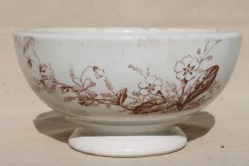 old antique brown transferware English ironstone semi-porcelain china footed bowl