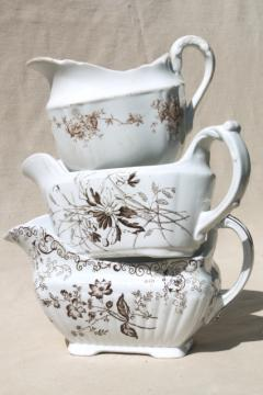 old antique brown transferware china collection, sauce pitchers & gravy boats
