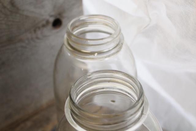 old antique canning jars, pre Ball Drey Perfect Mason big 2 qt clear glass canisters