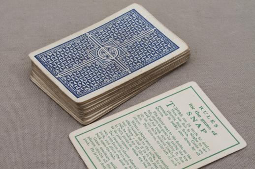 old antique card game, complete deck Snap playing cards w/ funny nursery rhymes