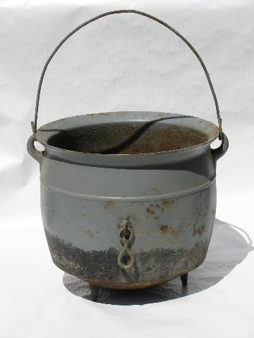 old antique cast iron cauldron pot, vintage farm primitive for Halloween