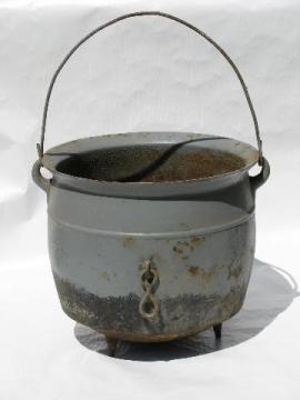 old antique cast iron cauldron pot, vintage farm primitive for Halloween