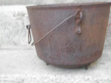 old antique cast iron witches cauldron, fireplace/campfire kettle pot