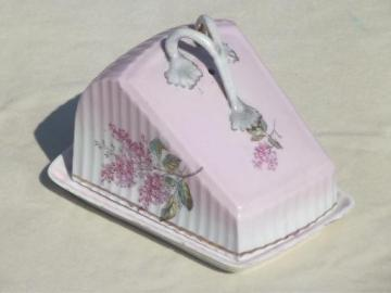 old antique cheese wedge plate & dome cover, lilacs hand-painted china
