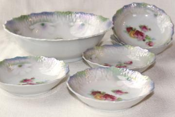 old antique china dessert dishes w/ roses, iridescent luster color - Bavaria porcelain bowls