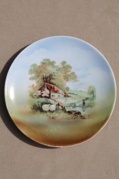 old antique china plate w/ thatched stone cottage country scene, Germany mark