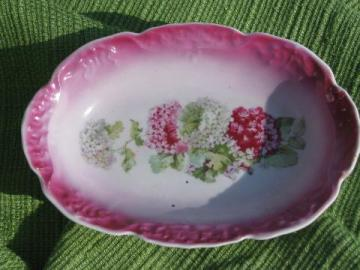 old antique china soap dish,early 1900s vintage lilac floral soap dish