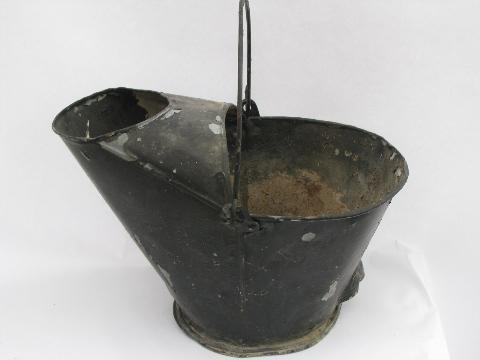 old antique coal scuttle bucket, shabby porch hanging flower pot planter