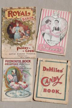 old antique cookbooks lot, Victorian Edwardian period candy, sweets, pastry recipes