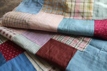 old antique cotton fabrics prints & striped shirting patchwork quilt block table runner