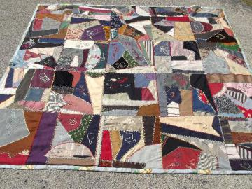 old antique crazy quilt, patchwork silk wool cotton fabric w/ embroidery dated 1890s