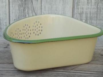 old antique cream & green enamelware sink corner strainer basket sieve