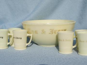 old antique custard glass Christmas Tom and Jerry bowl and cups, holiday punch set