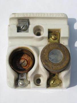 old antique early Edison socket fuse holder w/mica window fuse & 1901 patent date