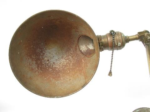 old antique early industrial brass desk work light/lamp