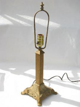 old antique electric table or desk lamp, early 1900s vintage ornate cast iron, art nouveau style