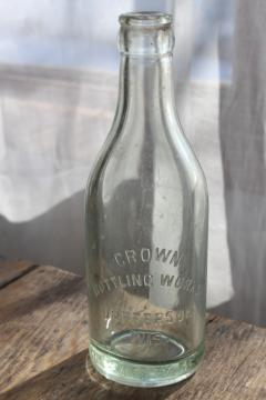 old antique embossed glass bottle Crown Bottling Works Jefferson Wisconsin