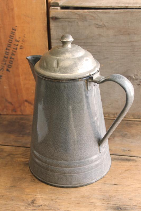 old antique enamelware coffeepot, primitive grey granite ware pot w/ hinged tin lid