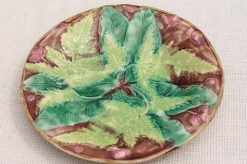 old antique fern pattern majolica pottery plate, green ferns Victorian vintage