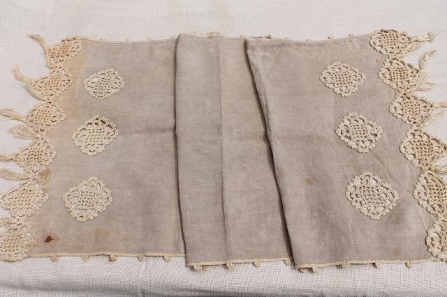 Old Antique Flax Linen Table Runner W Handmade Lace Heavy Irish