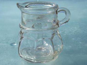 old antique flint glass syrup jug or cruet bottle, faintly sun purple